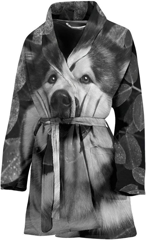 Alaskan Malamute Black and White Print Women's Bath Robe
