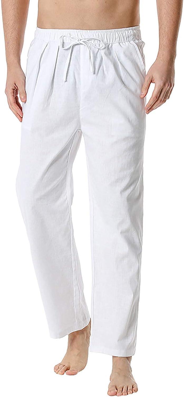 XUETON Mens Linen Pants Casual Loose Lightweight Drawstring Elastic Waist Yoga Beach Trousers Lounge Pants Sweatpant
