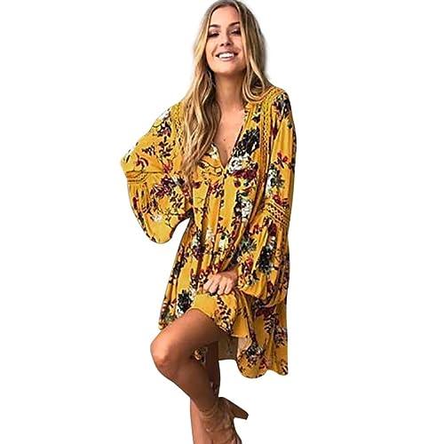 b5dd67603cf8d Wolfleague Femmes Mini Robe Manche Longue Jaune BohêMe Imprimé Floral Robe  Longue Femme Col V Robe