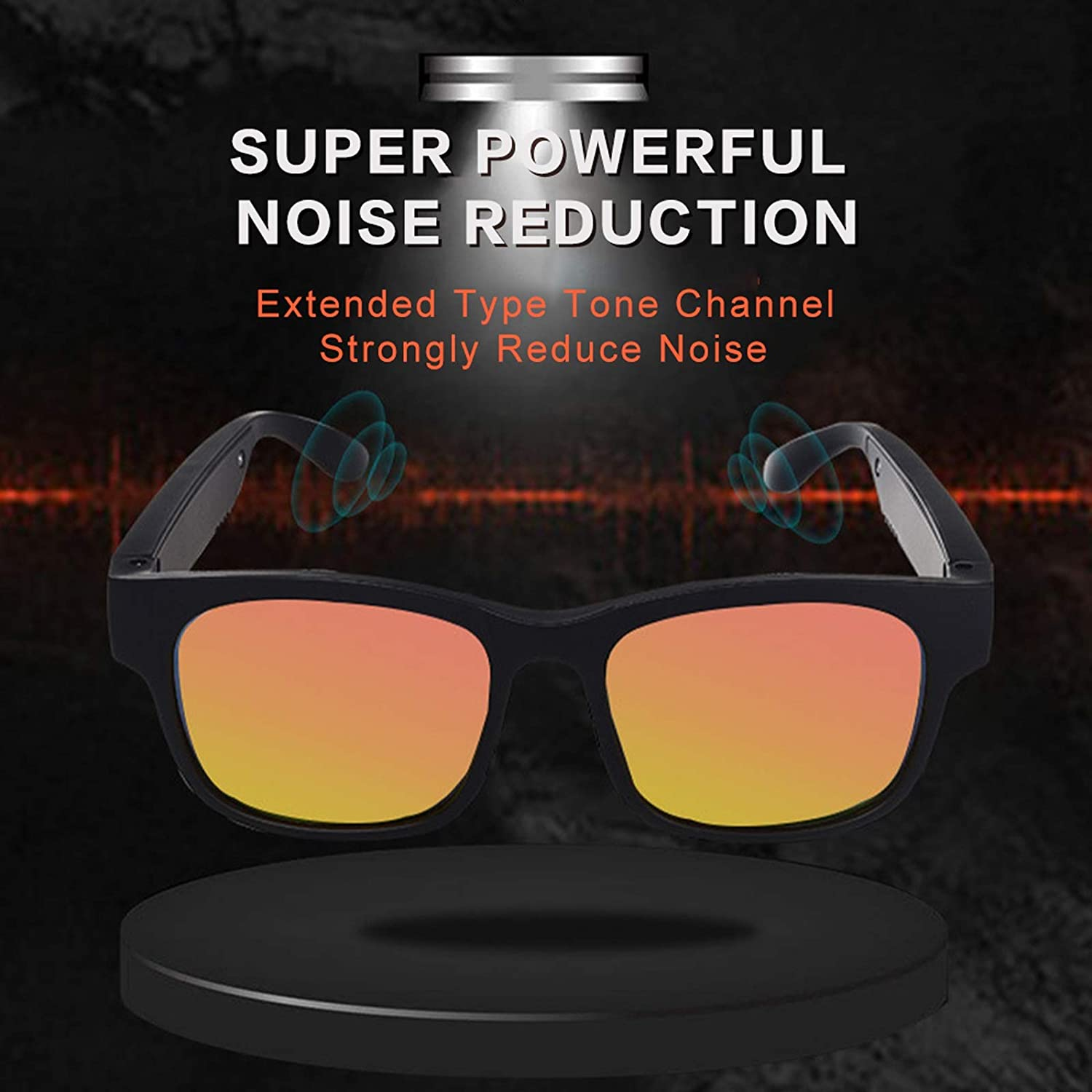KTYXGKL Wireless Bluetooth Glasses, Smart Sports Sunglasses with Open Ear Music and Hands-Free Calling, Waterproof Intelligent Glasses Compatible with iOS/Android System for Outdoor Sports
