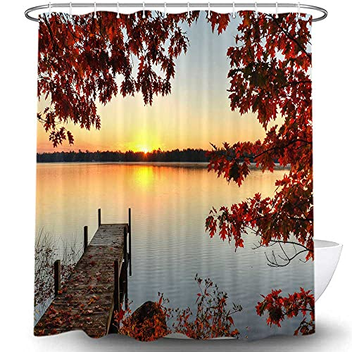 NYMB Autumn Shower Curtain, Maple Trees Fall Leaves and Wooden Bridge Lake Sunset Nature Landscape, Fall Themed Shower Curtains for Bathroom Decor Sets with Hooks, 69X70 in