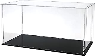 Lanscoee アクリルケース フィギュアケース ディスプレイケース コレクションケース 陳列ケース 人形ケース 透明アクリル プラモデル 壁掛け 飾り用 展示用(台座黒, 内寸 横長さ30*奥行15*高さ15cm)