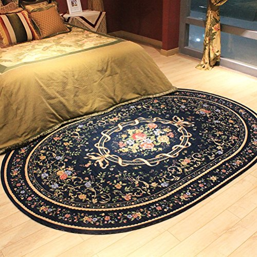 WLH- Tapijt Oval Europese woonkamer slaapbank Bed Carpet (Color : Blue, Size : 160x230cm)