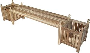 KMH®, Beliebig erweiterbare Blumenkübelbank aus Teakholz 230 cm (#102169)