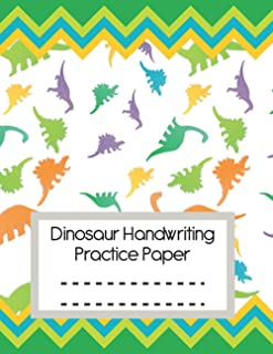 Dinosaur Handwriting Practice Paper: ABC Kids Writing Practice Notebook with Dotted Lined Sheets for Dinosaur Lover Or Pre...