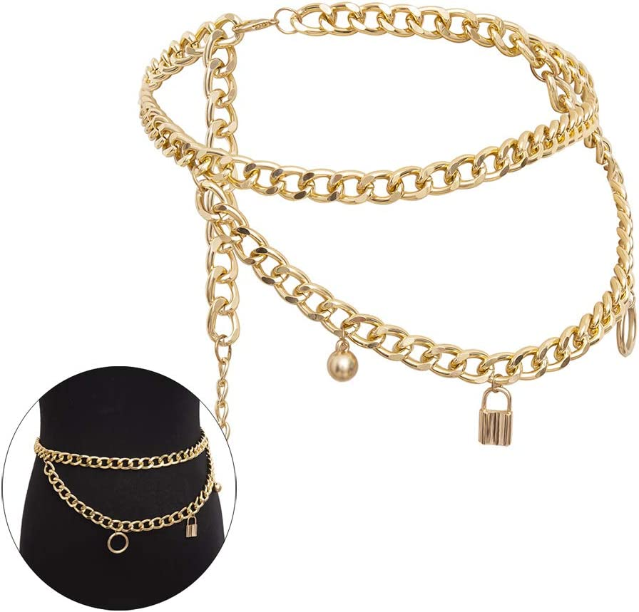 Jurxy Multilayer Alloy Waist Chain Body Chain for Women Waist Belt Pendant Belly Chain Adjustable Body Harness for Jeans Dresses with Lock Pendant – Gold 0491