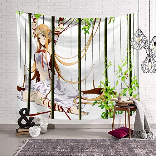 Cabecero para colgar en la pared, decoración del hogar, anime espada arte en línea Asuna paisaje lienzo impresiones para decoraciones del hogar, 210 x 150 cm