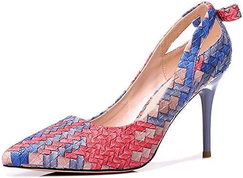 Xie Chaussures pour femmes Bout pointu Tissage en cuir Talon aiguille Tribunal Fermé Pompes