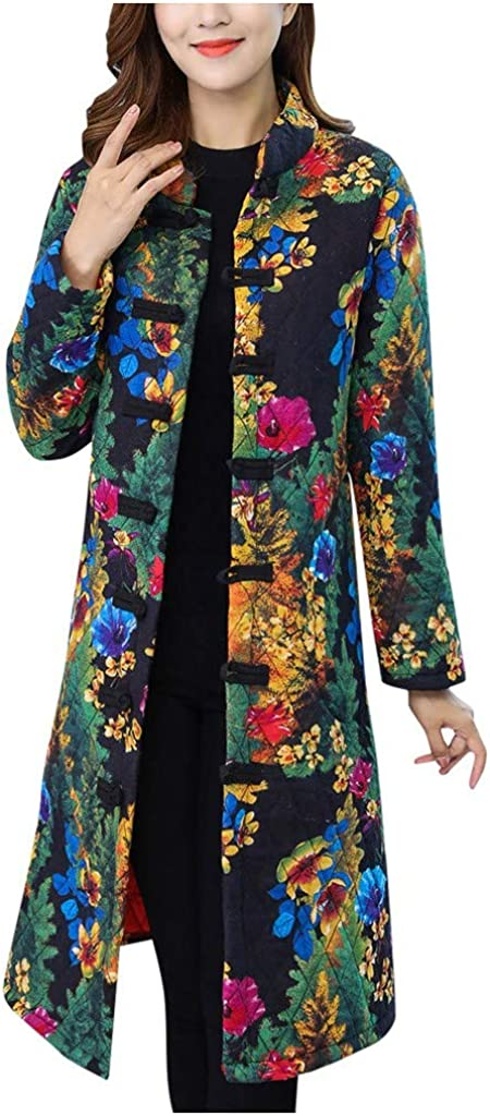 NIUQI Women Design Cozy Jacket Printing Leisure Outerwear Warm Winter Long Coat
