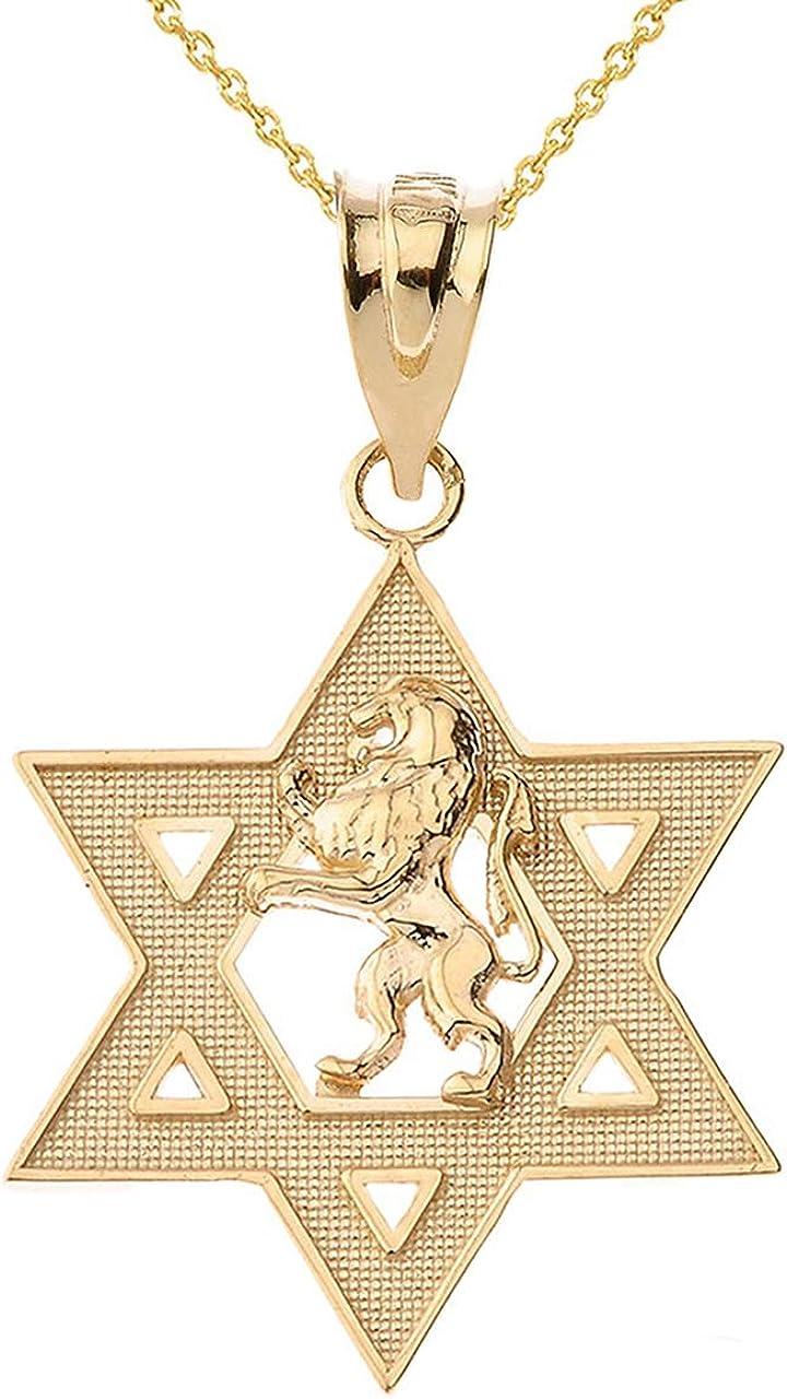 Certified 14k Gold Israel Lion of Magen Judah Hebrew Award Star Max 82% OFF David