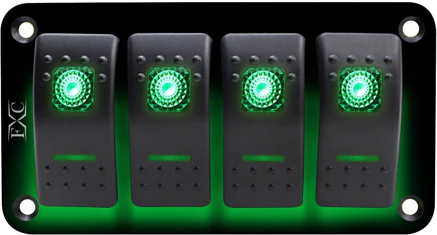 SH-CHEN Circuit Breakers 12V-24V 4 Switch Pan Finally resale start Ranking TOP5 Green Gang Rocker