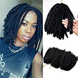 Flyteng Spring Twist Hair Black 3 pack/lot Jamaican Bounce bomb twist Crochet Hair for Black Women 8 Inch Fluffy Spring Twist Crochet Braids Synthetic Braiding Hair Extensions