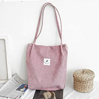 Canvas Tote Bag,Pink Canvas Solid Corduroy Shoulder Bags Environmental Shopping Bag Crossbody Bags Purses Casual Fashion Handbag For Women