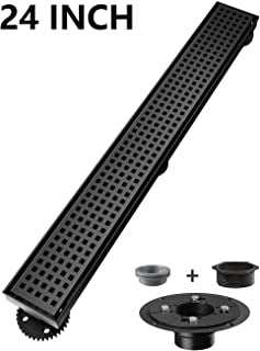 Ushower Linear Shower Drain 24 Inch, Square Pattern Grate Matte Black Stainless Steel Linear Drain with Drain flange kit