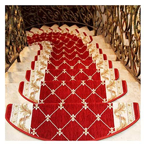 YOGANHJAT Tappeti per Scale Interne Fonoassorbenti Antiscivolo Autoadesive Semicircolari Blocchi Sicurezza passatoie Singole per gradini Decorazione casa Rosso,24×75cm,7pieces