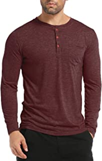 Men's Henley Long Sleeve Shirts Soild Tee Shirts Front Pocket Tops Basic T-Shirts