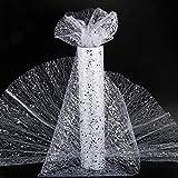(30cm * 10m) Rotolo Tulle Bianco Argento Poliestere Bobina Fai da Te Decorativo Decorazione Sedie Tavolo Runner Natale Halloween Feste Compleanno Matrimonio