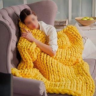 LICHUXIN Couverture géante faite à la main en tricot épais doux et épais - Couverture de canapé et tapis de yoga - Couleur...