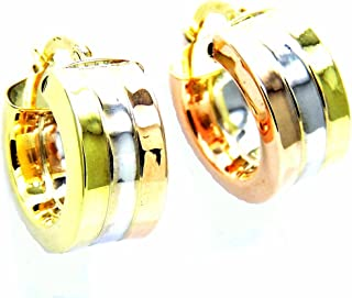 Pegaso Joyería–Pendientes oro 18kt Círculos–Anillas Tricolor banda ancha para mujer chica