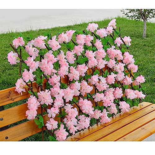Seto Artificial Gardentrellis, Flor De Seda Extensible Retráctil/Decoración De Valla De Hojas, Pantalla De Sombra De Privacidad para Balcones, Jardín, Patio,B