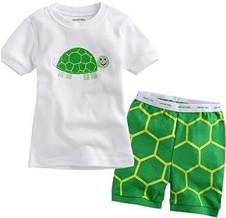 Babyfashion 子供服 ボーイズ 半袖 パジャマ ルームウェア カメ柄 寝間着 上下セット 幼児服 キッズ服