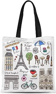Semtomn Canvas Tote Bag Parisian Paris France Doodle and Symbols Architecture Bicycle Bonjour Durable Reusable Shopping Shoulder Grocery Bag