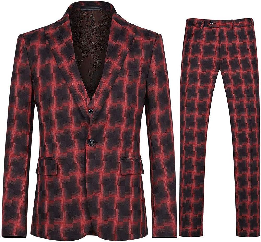 Mens 3 Piece Dress Suit 1 Button Slim Fit Mixed Color Fashion Outfit Set