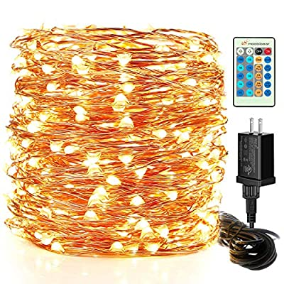 Moobibear LED Decorative Fairy String Lights 99ft 300 LEDs Dimmable Outdoor/Indoor Starry String Lights, UL Listed Warm White Copper Lights with Remote Control for Garden Room Patio Party Christmas