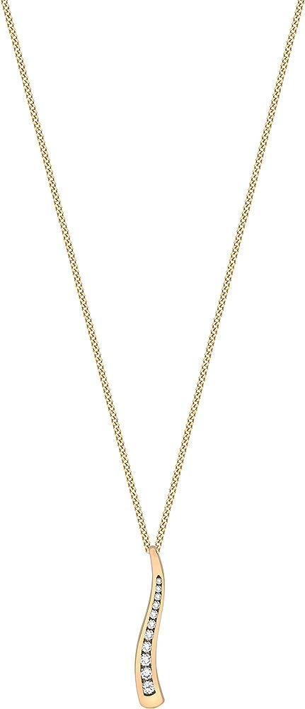 Carissima gold catenina per donna con pendente in oro giallo, rosso 9k (375) ()2,17gr)e diamante da 0,25 ct 2.40.7434