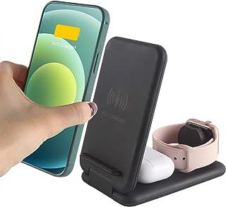 【2021アップグレード版】SUPER MALL 3in1ワイヤレス充電器 折り畳み Qiスマホ機種全対応 急速充電 PSE認証済み 置くだけ充電 iPhone12/12 Pro Max/12 Pro/iPhone 11/pro/pro ma...
