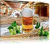 Deutsches frisches Bier Format: 100x70 auf Leinwand, XXL riesige Bilder fertig gerahmt mit Keilrahmen, Kunstdruck auf Wandbild mit Rahmen, günstiger als Gemälde oder Ölbild, kein Poster oder Plakat