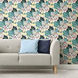RoomMates RMK11846WP Yellow and Green Retro Tropical Leaves Peel and Stick Wallpaper
