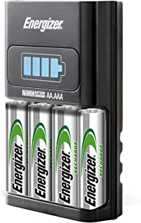 Energizer AA/AAA 1 Hour Charger with 4 AA NiMH Rechargeable Batteries (Charges AA or AAA..