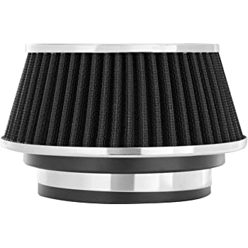 Spectre Universal Clamp-On Air Filter: High Performance, Washable Filter: Round Reverse Tapered; 3 in/3.5 in/4 in Flange ID; 2.625 in (67 mm) Height; 6 in (152 mm) Base; 4.75 in Top, SPE-8161