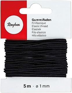 Rayher 8908901 Gummifaden, 1 mm ø, Karte 5 m, schwarz, elastische Gummischnur zum Nähen von Behelfsmasken, für Armbänder usw.