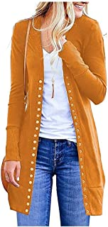 RkYAO Womens Long Sleeve Solid Button Down Slim Fit Cardigan Long Coat