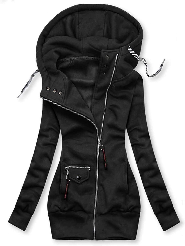 ZSBAYU Women's Fashion Hoodie Jackets Coats Zipper Sweatshirts Womens High Neck Drawstring Hood Pockets Jacket Coat Plus