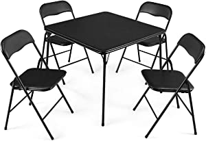 """Giantex 5-Piece Folding Table and Chairs Set Multi-Purpose Kitchen Dining Games Table Set 1 Table 4 Chairs w/Padded Seat, Table Size 33""""x33""""x27.5""""(LxWxH), Black"""