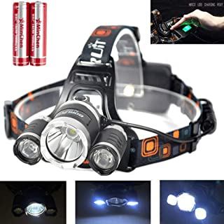 High Power RJ3000 3 LED Headlamp 5000Lumens XM- L2 2XPE LED Headlamp 4 Working Modes Rechargeable Head Lamp with 18650 batteries and USB Charging Cable