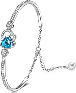 QIANSE Love Actually White Gold Plated Dangle Earrings with Blue Crystal, Swarovski Crystal Jewelry