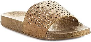 Z. Emma Women's Slip On Metallic Perforated Slide Sandals Summer Beach Platform Flat Slipper FF03