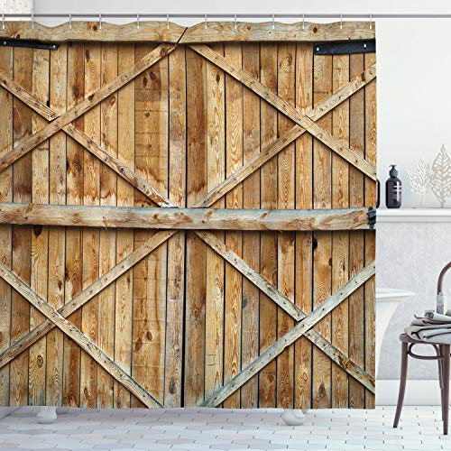 ABAKUHAUS Rustikal Duschvorhang, Holz-Holz-Tür Plank, Digital auf Stoff Bedruckt inkl.12 Haken Farbfest Wasser Bakterie Resistent, 175 x 200 cm, Braun