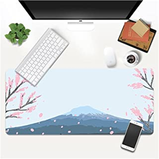 Desk mat Pink Cherry Blossoms Mouse Pad Gamer Lock Edge Soft Sakura Gaming Mousepad Mountain Non-slip Rubber Computer Desk...
