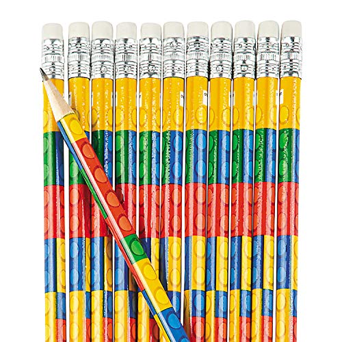 Fun Express Toy Brick Pencils for Birthday - 24 Pieces