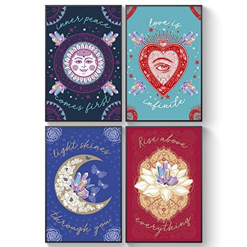 Pillow & Toast Inspirational Citas para Crystal People, Juego de 4 regalos del zodiaco para mujeres, pósteres mágicos de pensamiento positivo, decoración de pared para dormitorio y adolescentes