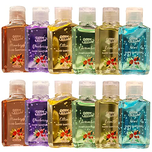 bulk hand sanitizer minis Scented Mini Hand Sanitizer Gel [12 Pack, Assorted Scents] Scented Small Mini Travel Size 2 oz Portable Pocket Size Flavored Hand Sanitizer Gel for Kids and Adults