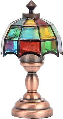 Modèle de Lampe de Maison de Poupée, 1:12 Lampe de Bureau LED sans Fil pour Maison de Poupée Lampe de Table Miniature avec Abat-jour Coloré Lampe de Table Vintage Grille Colorée Lampe de Bureau à LED