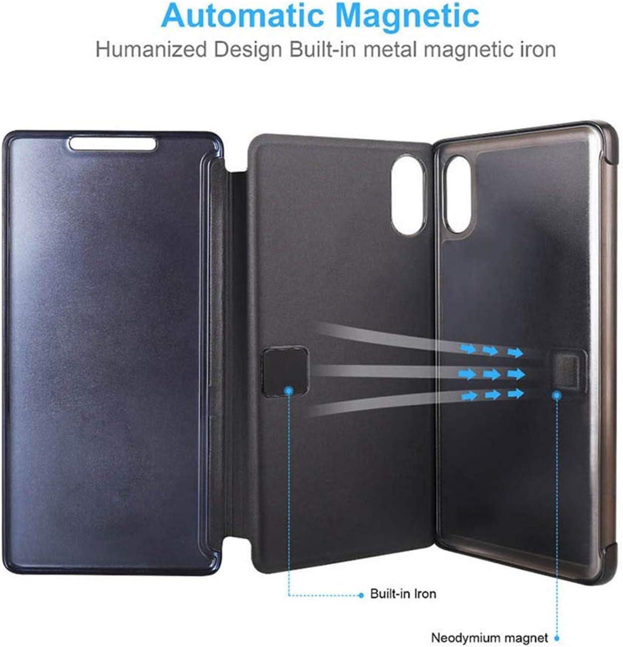 Noir, Huawei P30 Lite Ubeshine Coque pour Huawei P30 Lite Housse Transparent Clair Huawei P30 Couverture S-Vue PC Miroir Flip Case Cover Bumper Housse Etui Coque de Protection pour Huawei P30 Pro