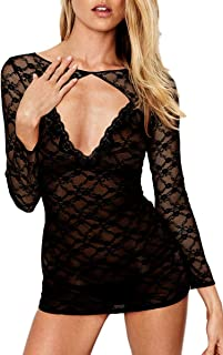 Women's Sexy Hollow Out Lingerie Backless Sheer Floral Lace Chemise Babydoll Long Sleeve Slip Bodysuit