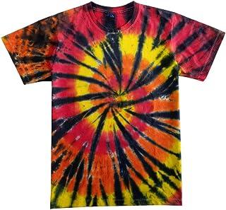 HiHippy Tie Dye T-Shirt Hippie Men Women Tiger Short Sleeve Colorful Color